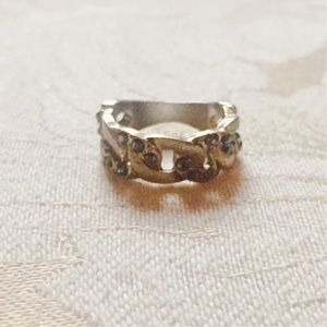 Topshop Gold Ring with Silver Bead Accents -Small